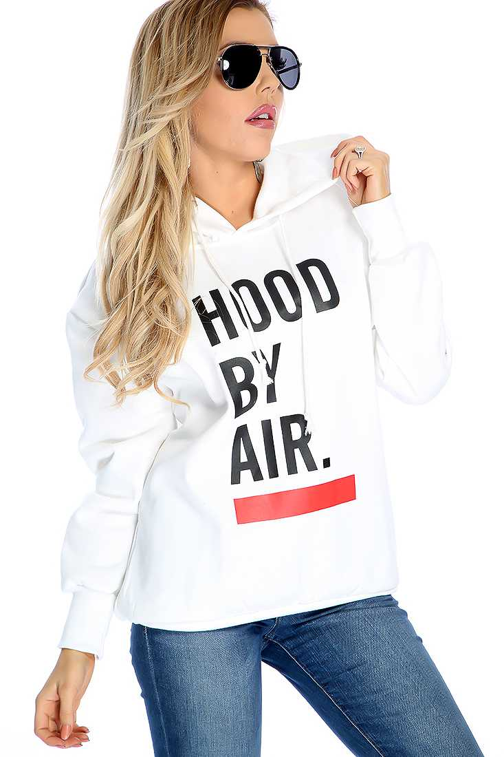 Casual White Graphic Print Hooded Sweater