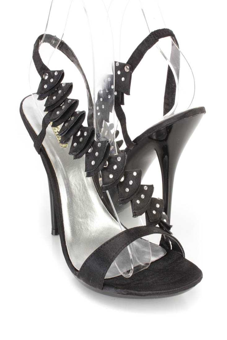 Black Rhinestone Ruffled Cross Strap Open Toe Heels Satin