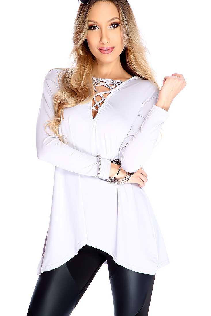 Stylish Light Grey Tie Up Strap Chest Long Sleeve Dressy Top