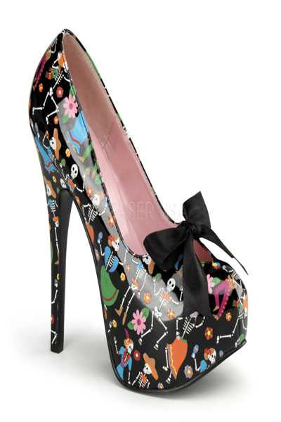 Black Patent Muertos Printed Decor Pumps