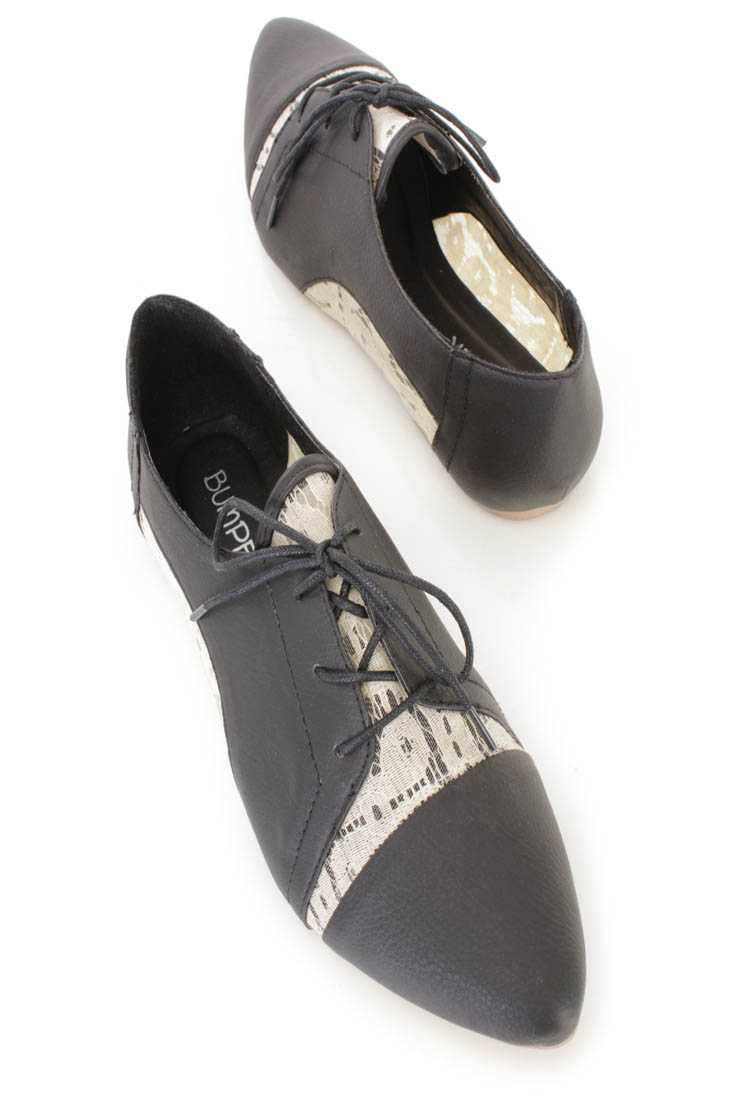 Black Crochet Cut Out Oxford Flats Faux Leather