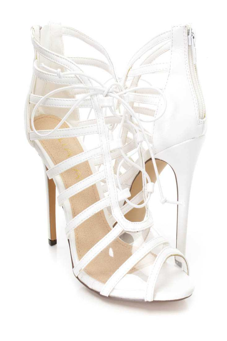 White Peep Toe Strappy Single Sole Booties Faux Leather