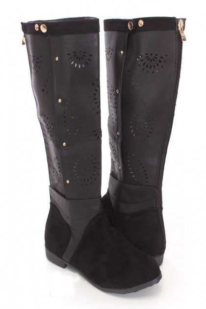 Black Perforated Mid Calf Boots Faux Leather