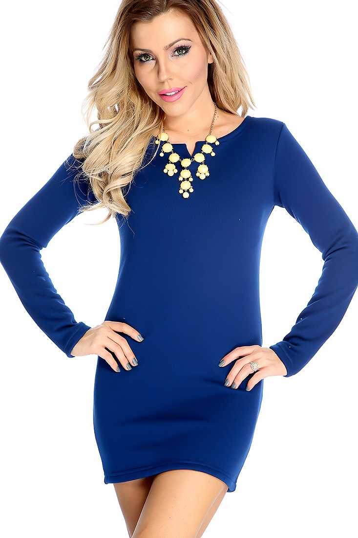 Sexy Navy Long Sleeve Fitted Sweater Dress