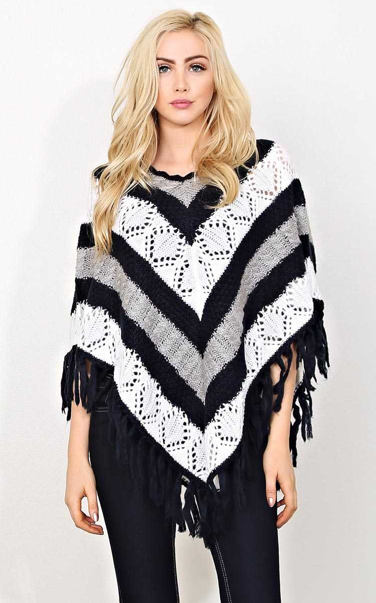 Chill Factor Knit Poncho - - Navy Combo in Size by Styles For Less