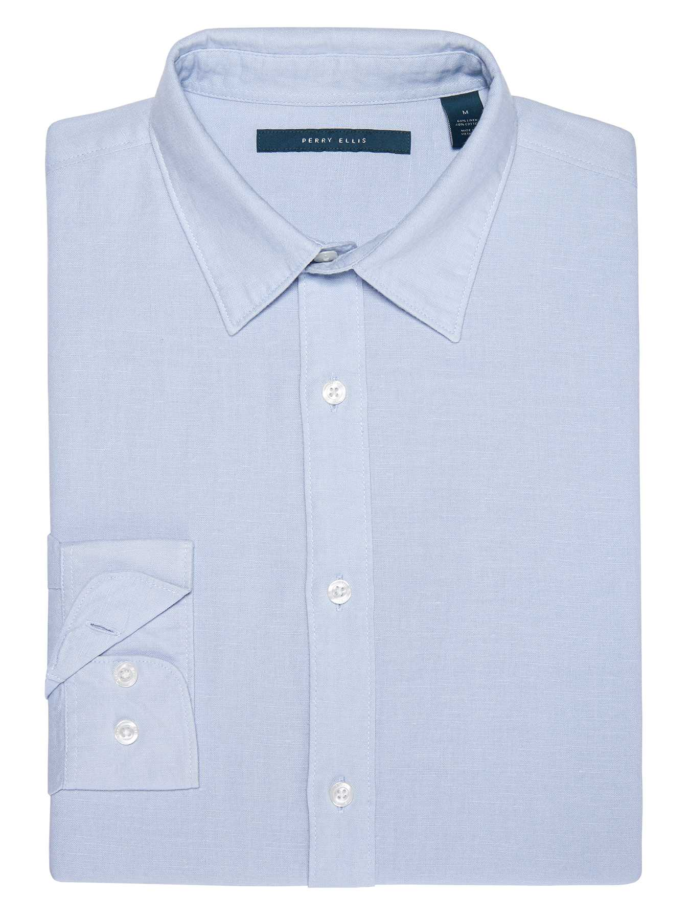 Perry Ellis Roll Sleeve Solid Linen Shirt