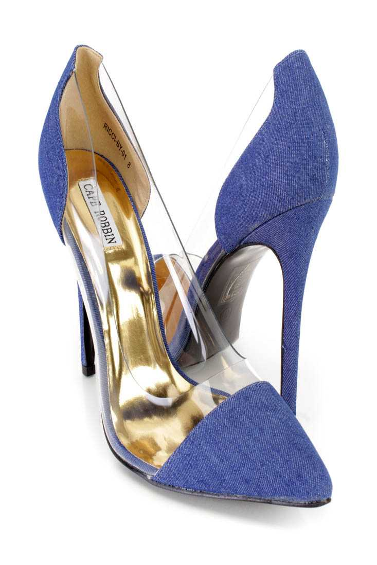 Dark Denim Pointed Toe Single Sole Pump Heels Fabric