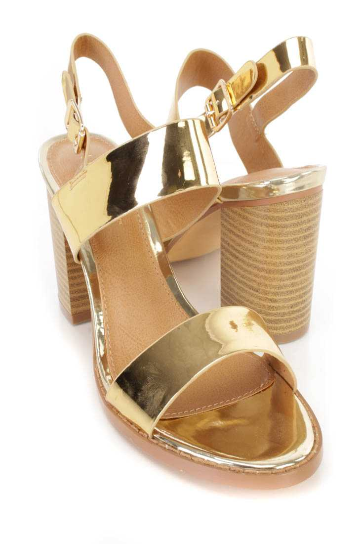 Gold Open Toe Chunky Heel Sandal Heels Patent Faux Leather