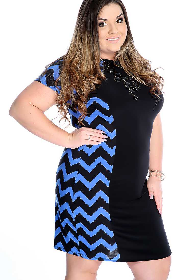 Sexy Blue Black Chevron Short Sleeve Plus Size Party Dress