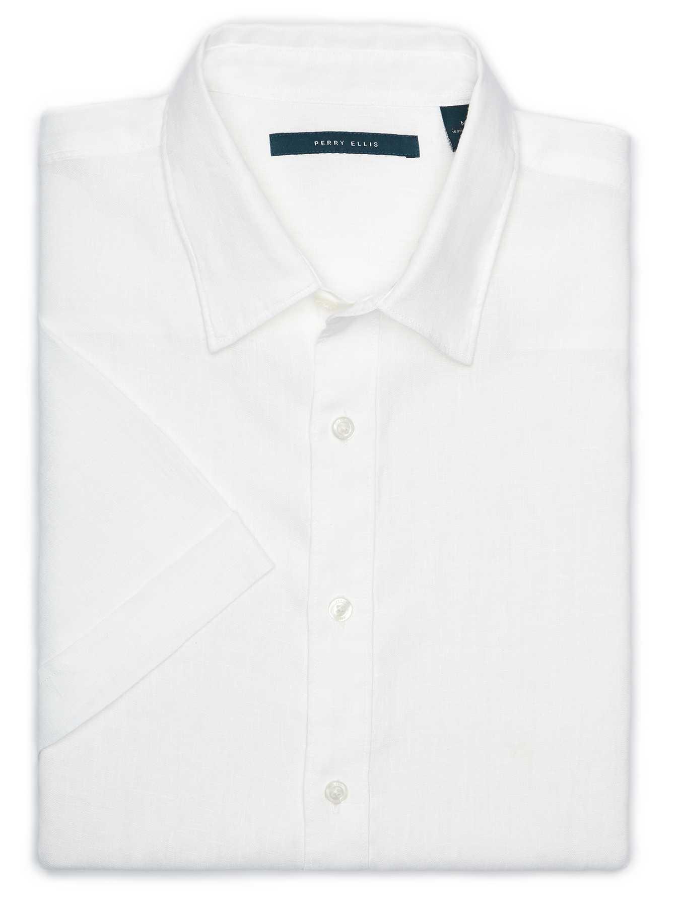 Perry Ellis Short Sleeve Linen Chambray Shirt
