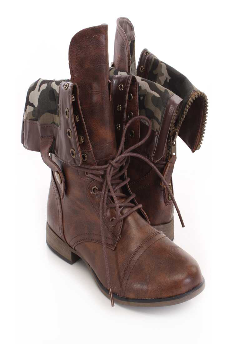 Brown Camouflaged Cuffed Boots Faux Leather