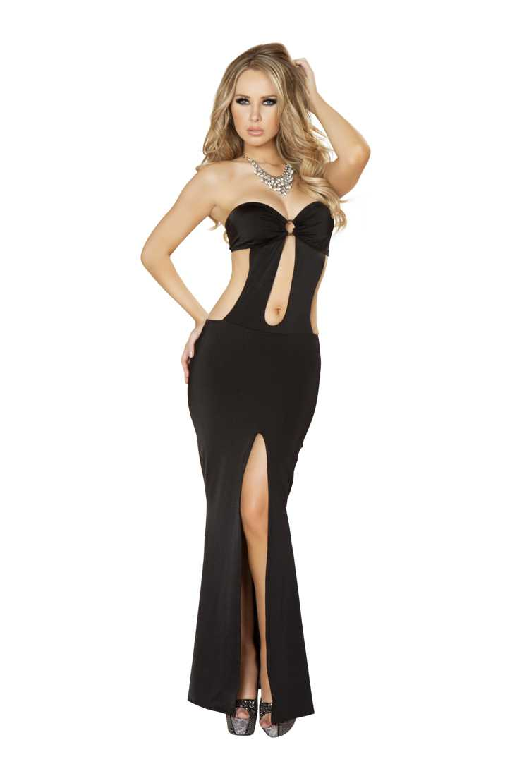 Black Cut Out Front Slit Sexy Maxi Dress