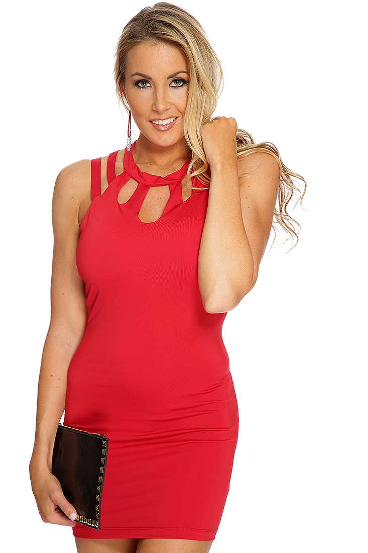 Red Cutout Decor Sexy Clubwear Dress
