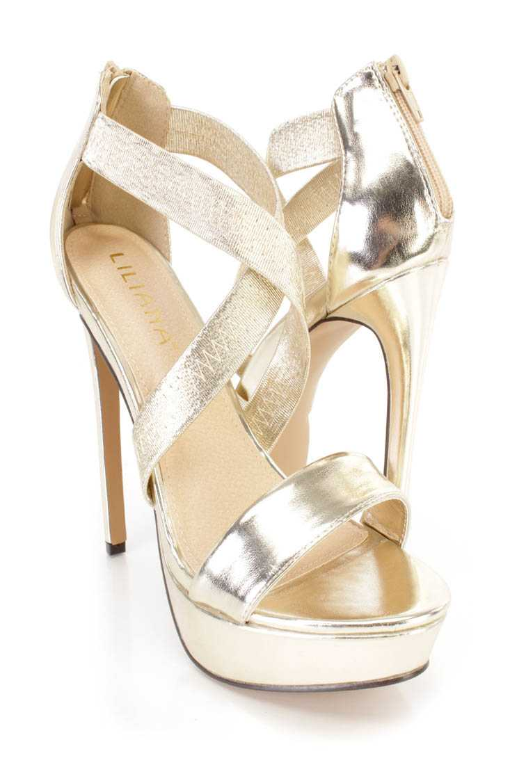 Gold Cross Strappy Platform High Heels Faux Suede