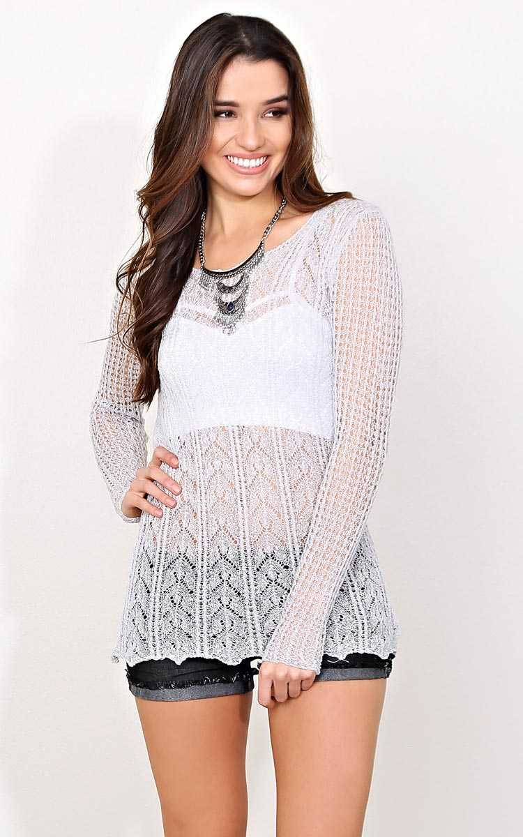 Crisp Air Slub Knit Sweater - - Silver in Size by Styles For Less