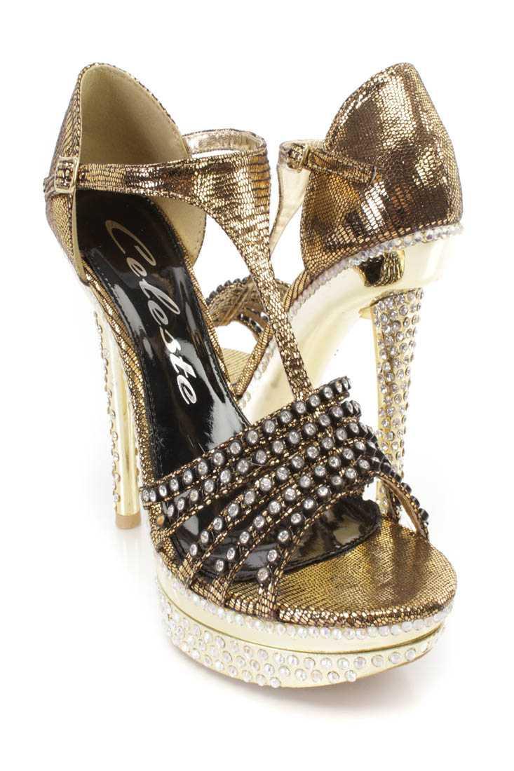 Gold T Strap Rhinestone Platform High Heels Shimmer Fabric