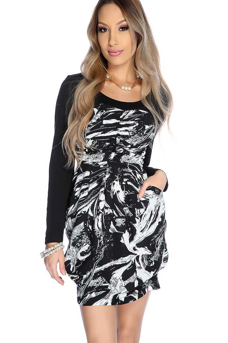 Sexy Black Grey Abstract Print Long Sleeve Party Dress