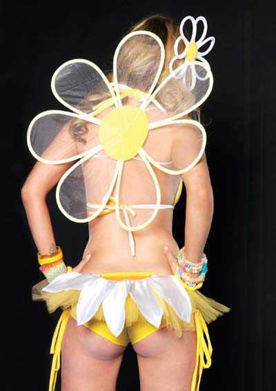 Yellow Daisy Petal Ruffle Back Booty Shorts
