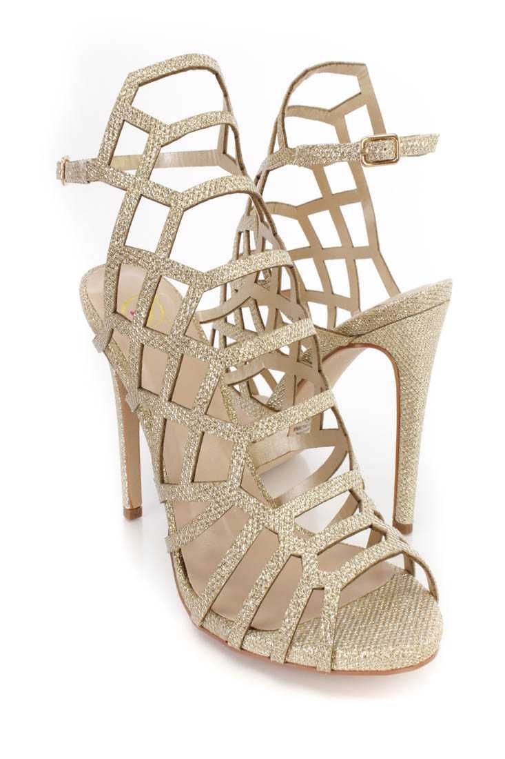 Light Gold Strappy Single Sole High Heels Glitter