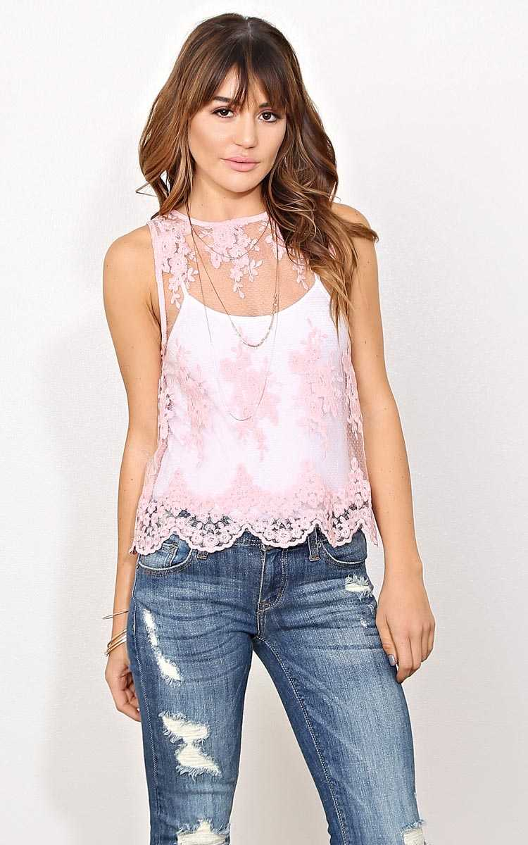 Spring Chic Lace Top - LGE - Dusty Rose in Size Large by Styles For Less