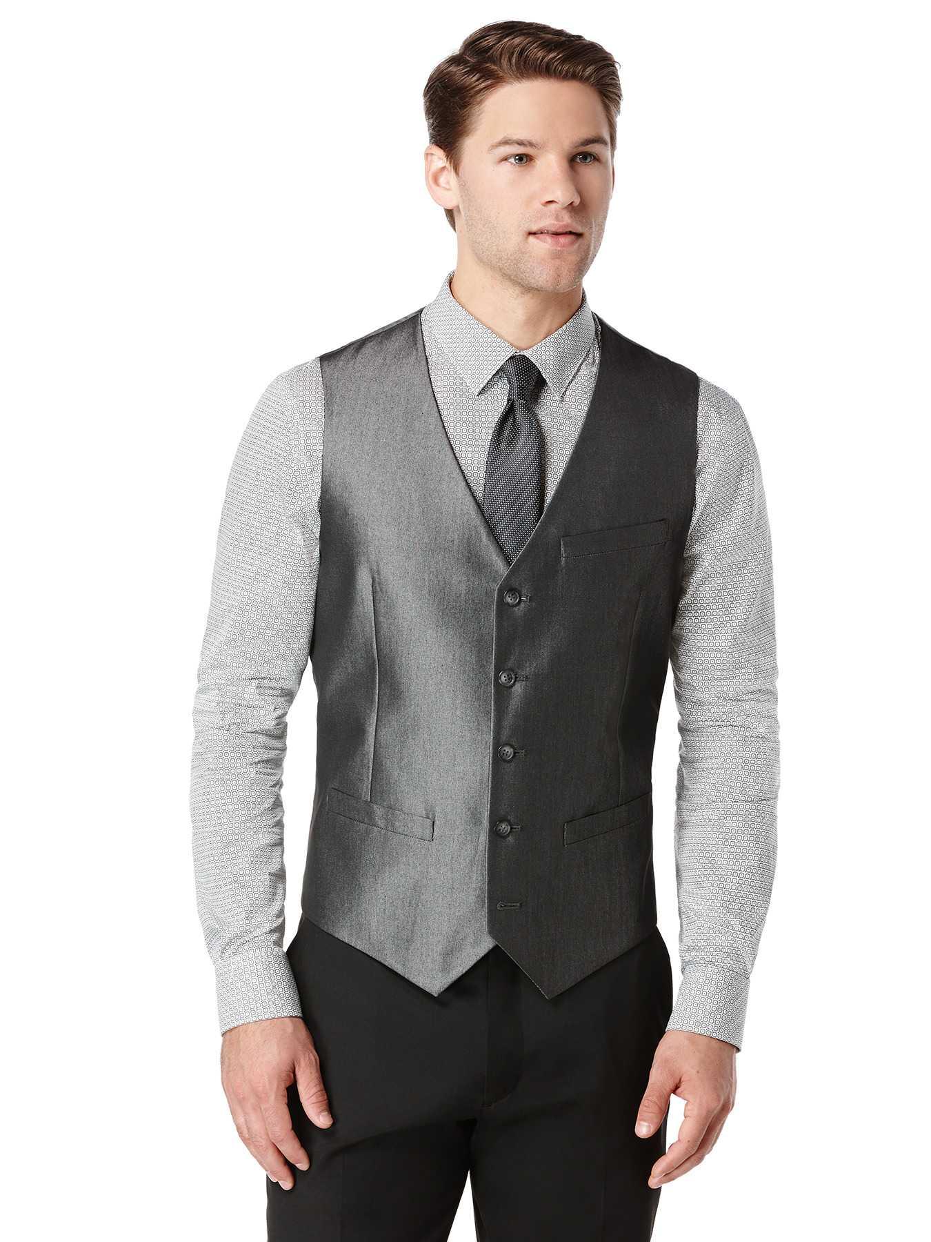 Perry Ellis Slim Fit Iridescent Twill Suit Vest