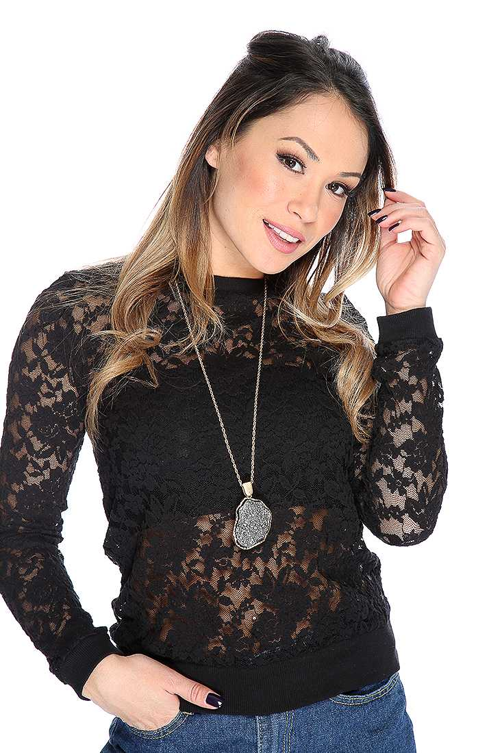 Black Floral Lace Mesh Long Sleeve Casual Top