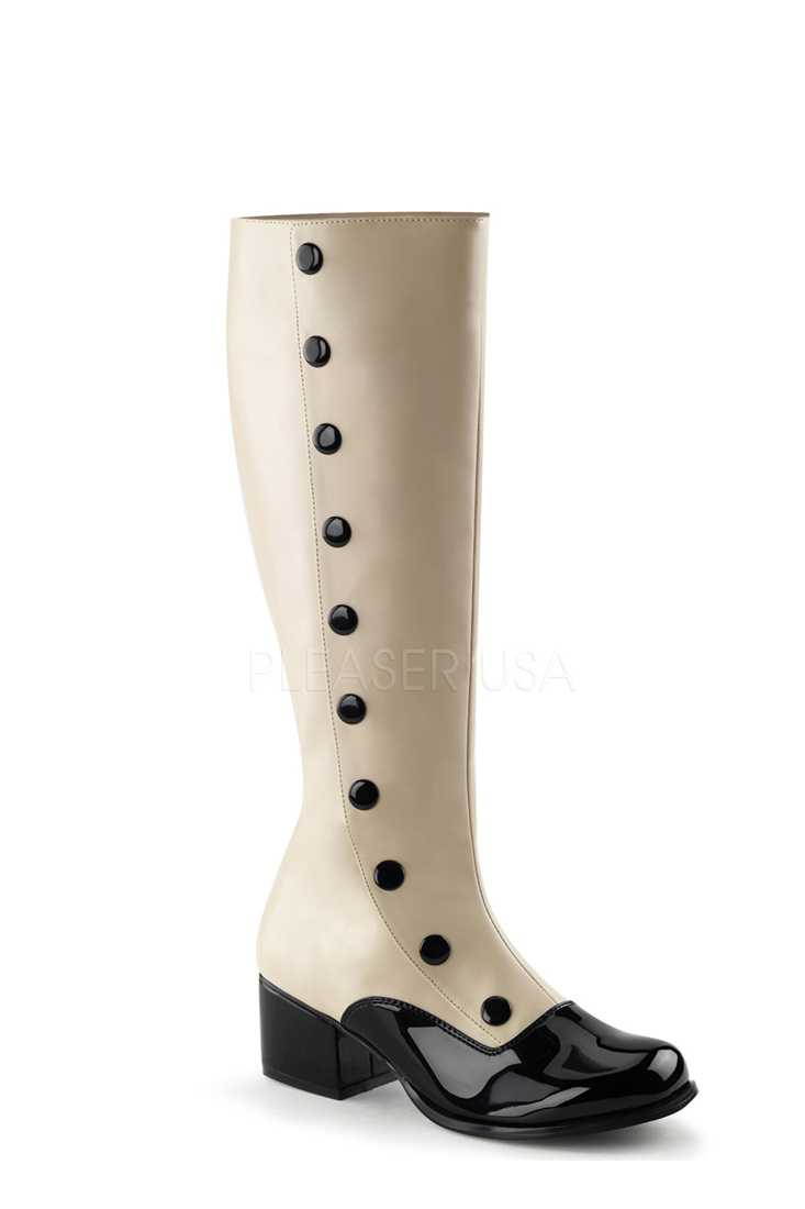 Cream Button Detailed Knee High Boots Faux Leather