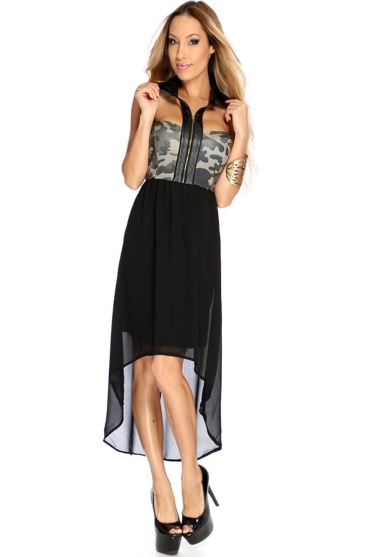 Black Army Print High Low Hem Stylish Dress