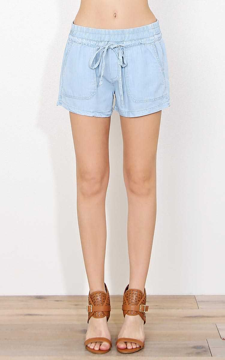 Bay Side Chambray Shorts - - Lt Blue in Size by Styles For Less