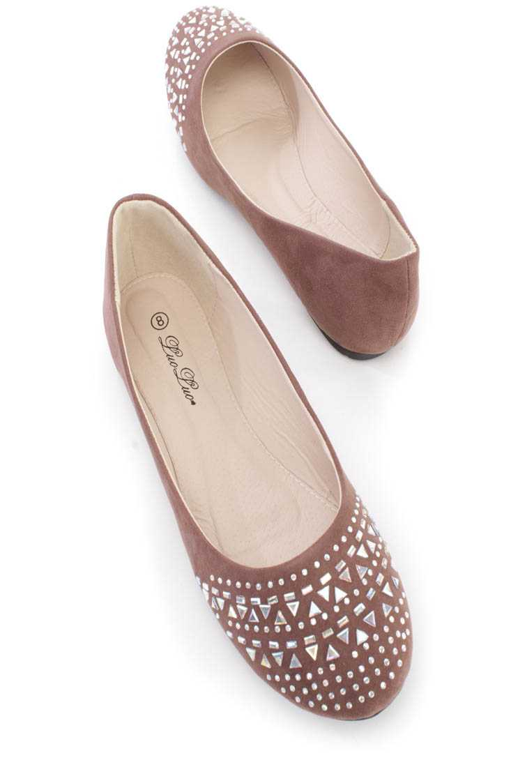 Brown Rhinestone Detailing Flats Faux Suede