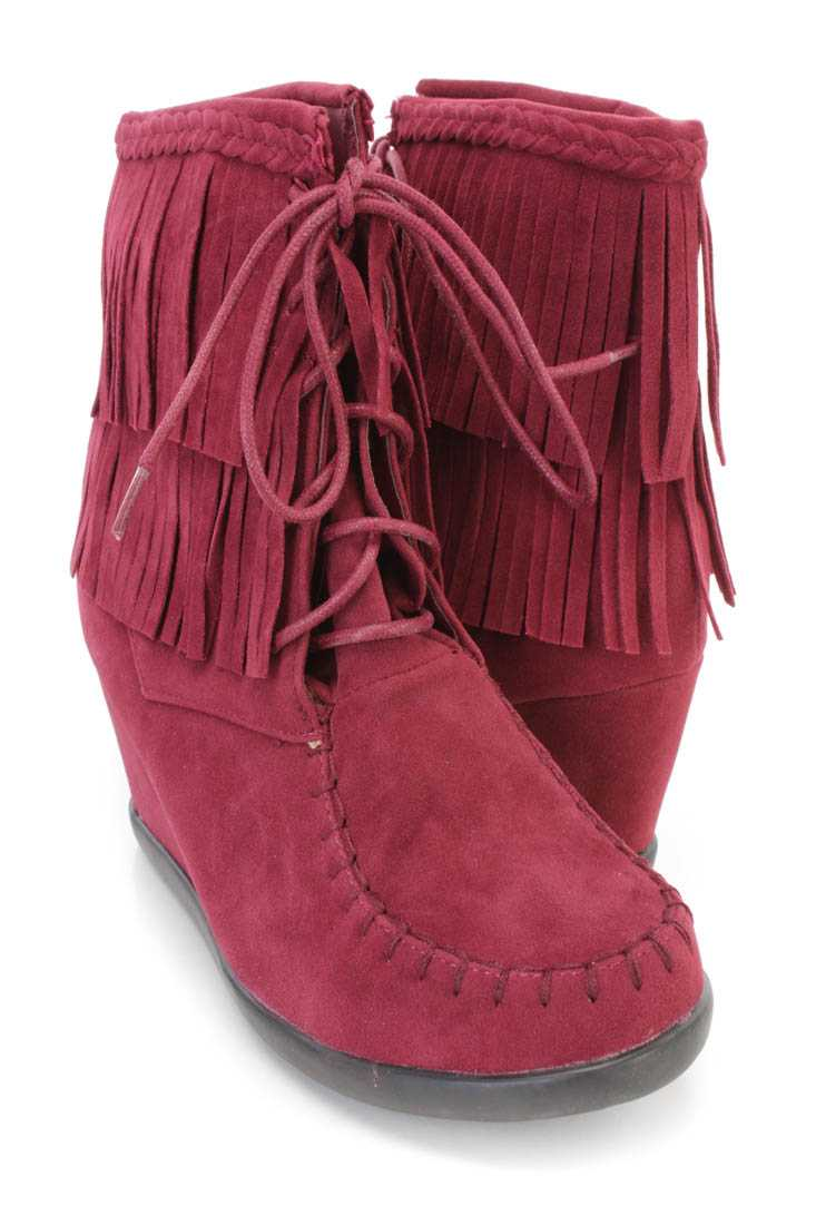 Burgundy Fringe Ankle Wedge Booties Faux Suede