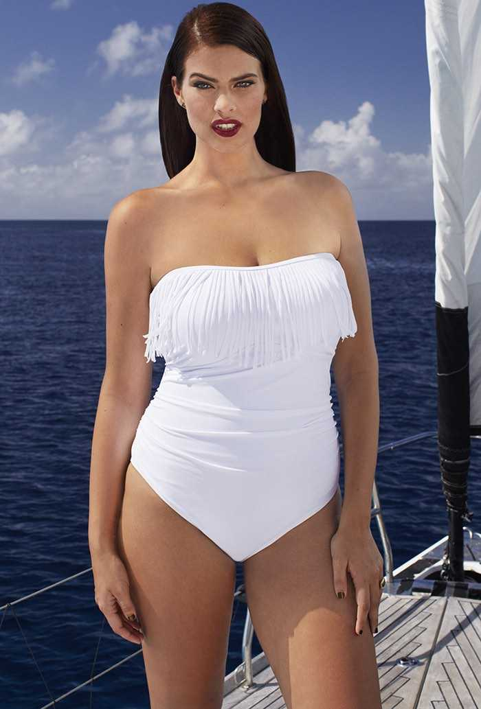 Blanco Fringe Bandeau Swimsuit