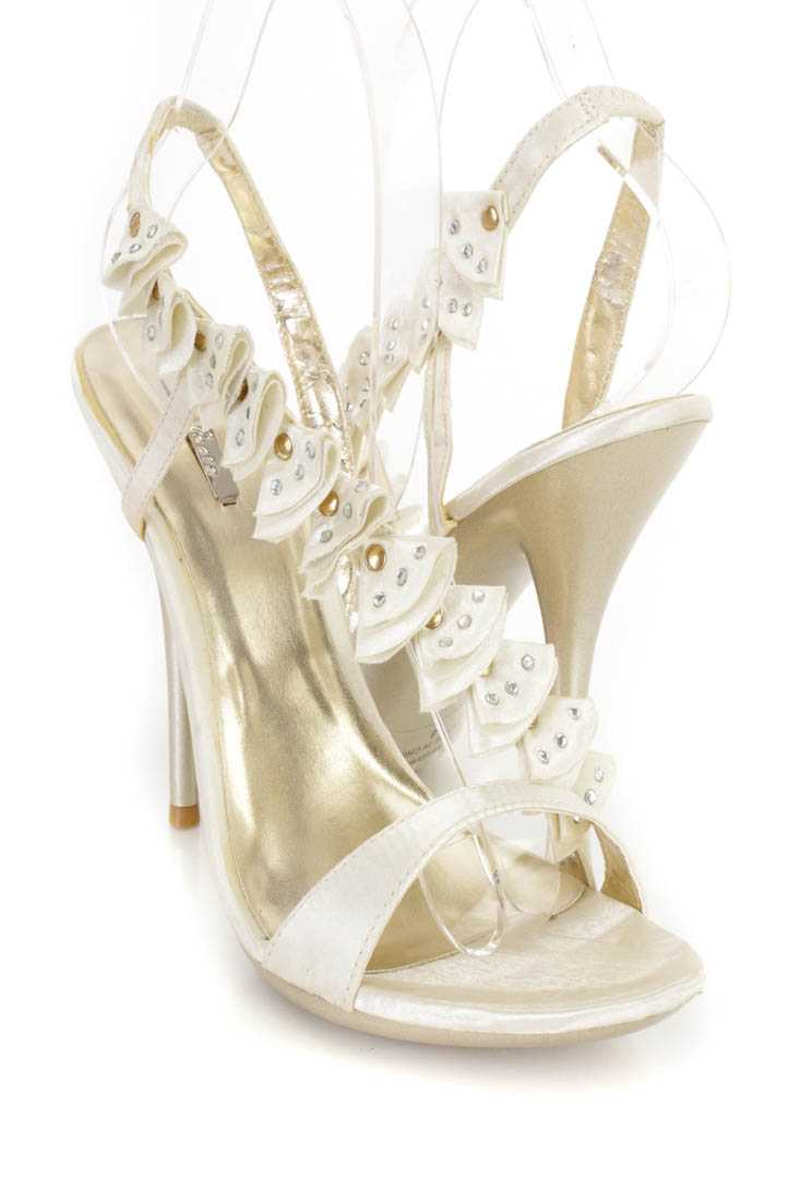 Champagne Rhinestone Ruffled Cross Strap Open Toe Heels Satin