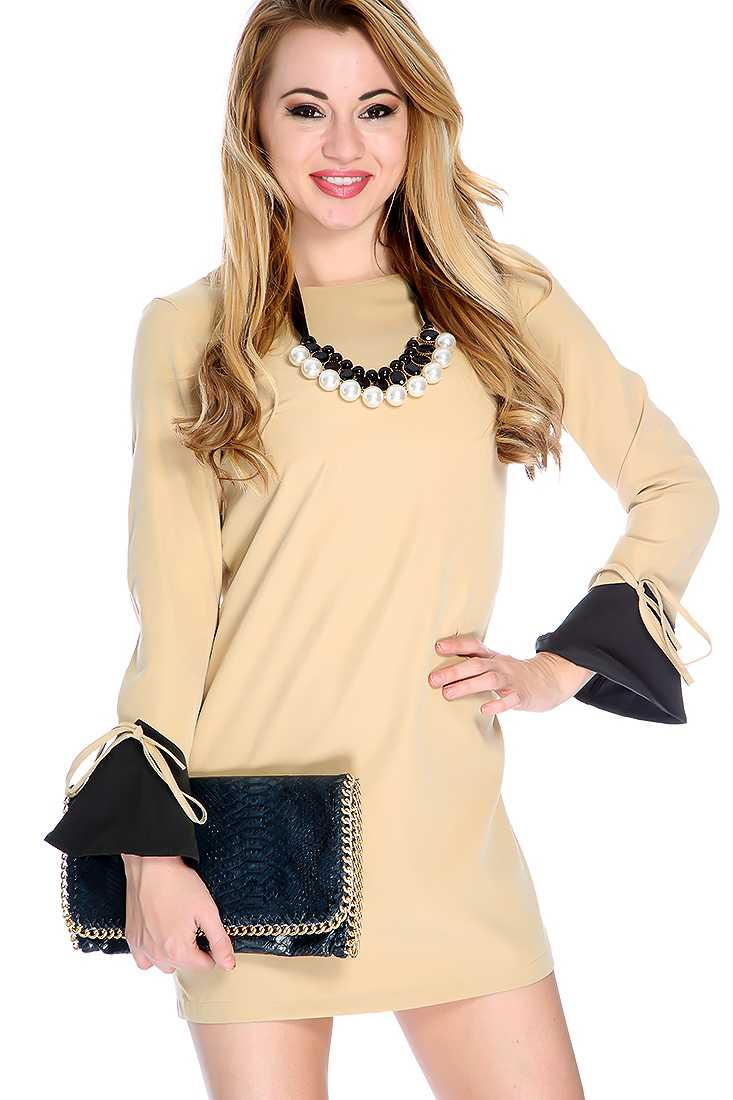 Beige Two Tone String Tie Long Sleeve Casual Dress