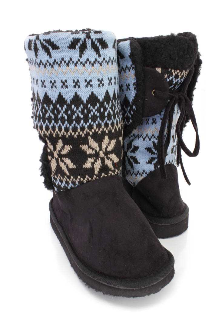 Black Fair Isle Knitted Casual Boots Faux Suede