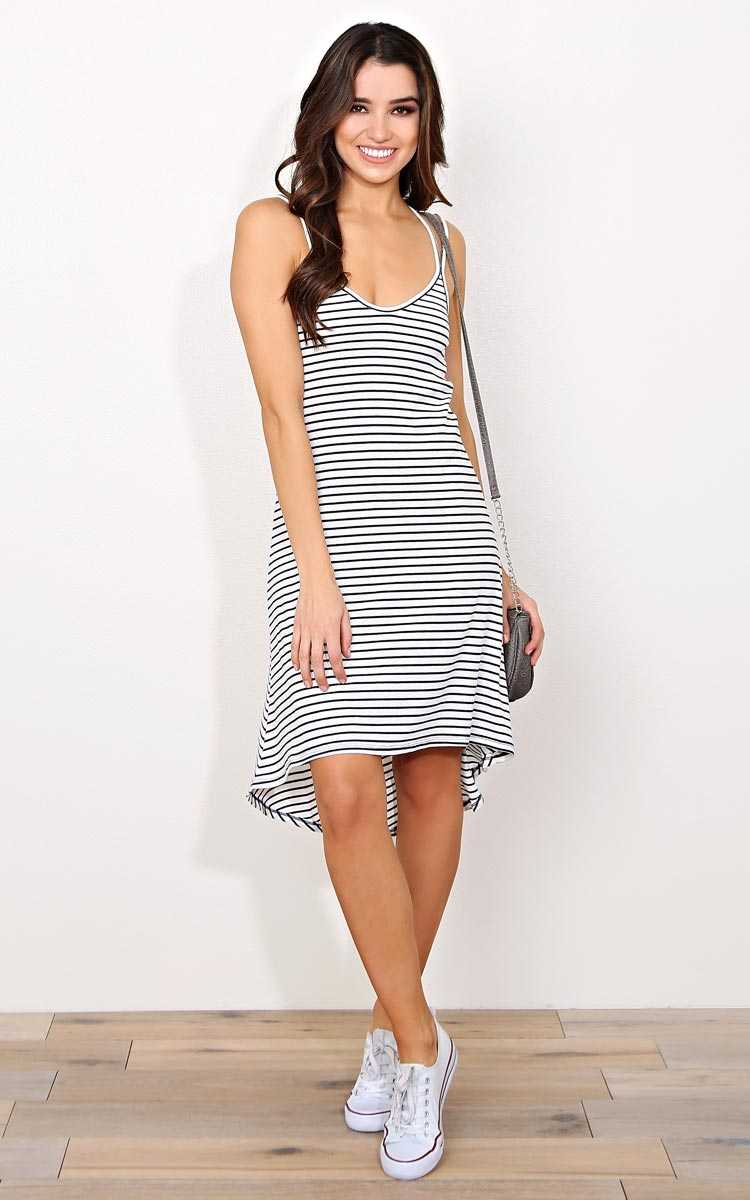 Highs And Lows Rib Knit Dress - - Navy Combo in Size by Styles For Less