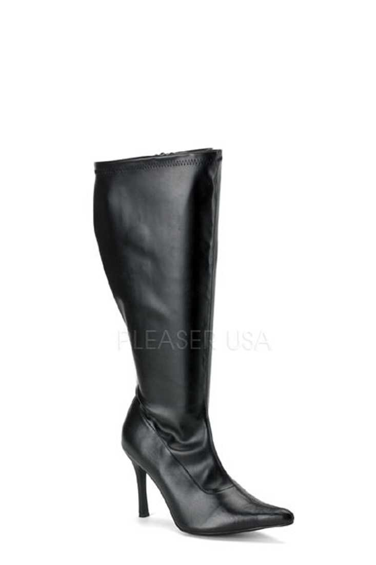 Black Wide Width Calf Pointed Toe Boots Faux Leather