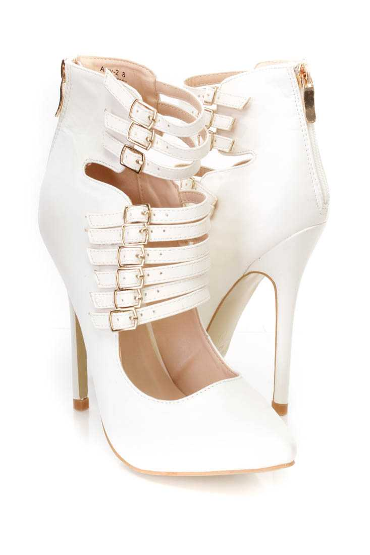 White Strappy Single Sole Heel Booties Faux Leather