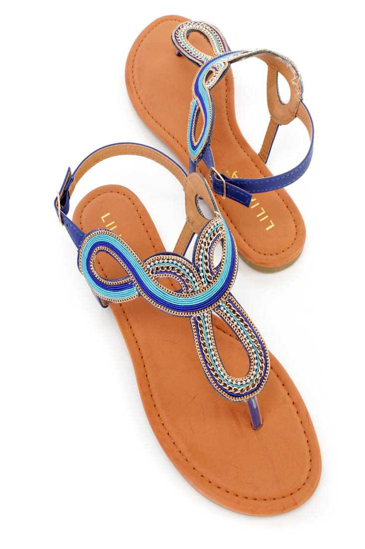 Blue Chain Detailed Thong Sandals Faux Leather
