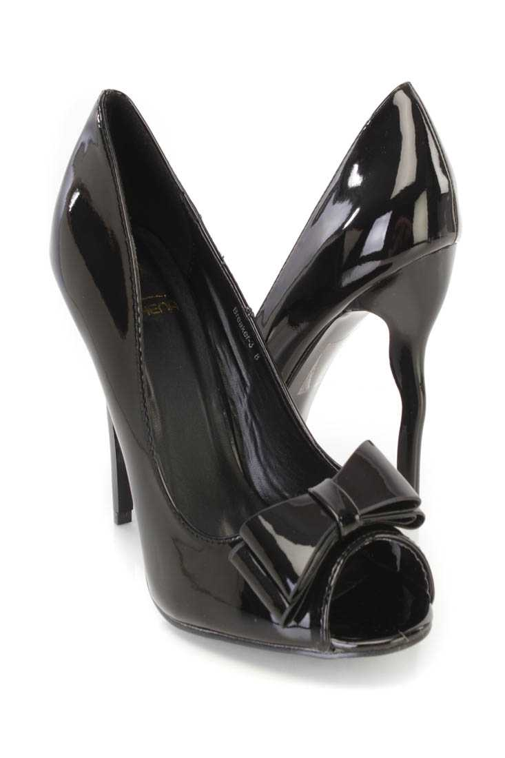 Black Peep Toe Bow Tie Single Sole Pump High Heels Patent