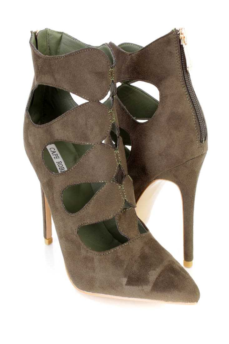Olive Strappy Single Sole Ankle Booties Faux Suede
