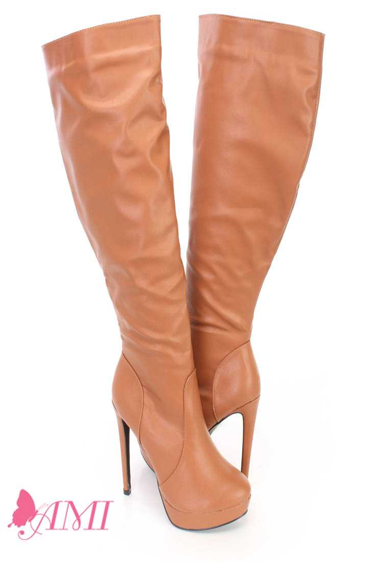 Cognac Platform High Heel Boots Faux Leather