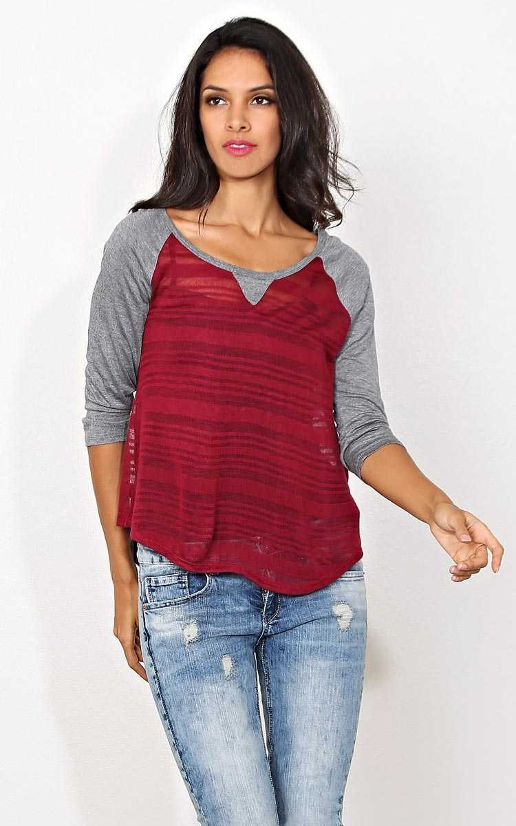 Shadow Stripes Knit Raglan Tee - - Burgundy in Size by Styles For Less