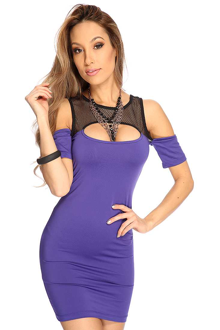Purple Off Shoulder Sleeves Netted Sexy Party Dress