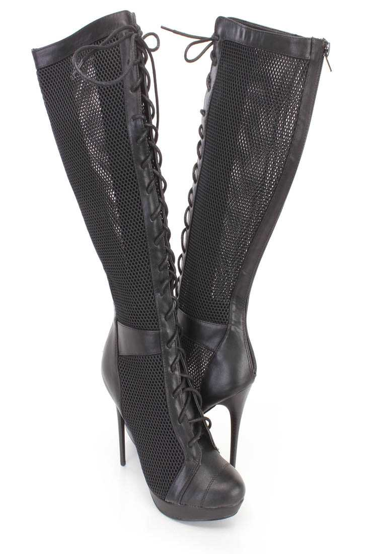 Black Netted Lace Up High Heel Boots Faux Leather