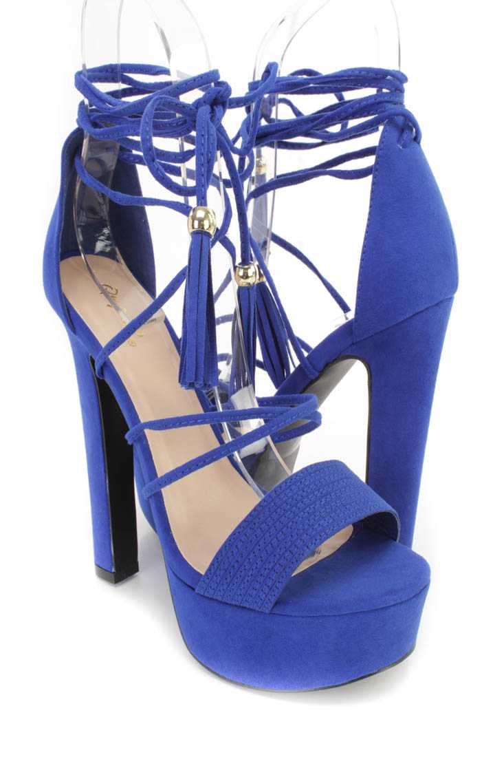 Cobalt Blue Wrap Around Strap Platform Chunky High Heels Faux Suede