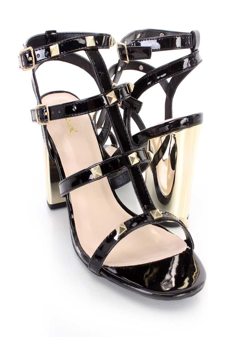 Black Studded Strappy Single Sole Chunky High Heels Patent