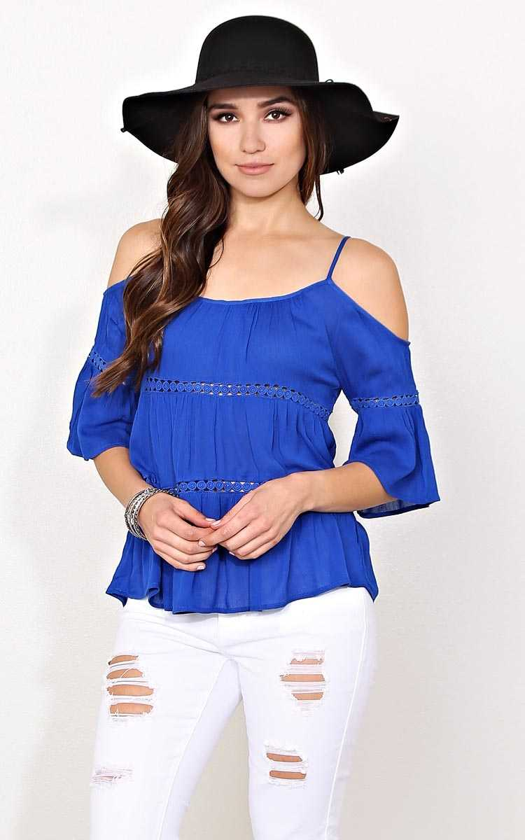 Azul Cold Shoulder Woven Top - LGE - Cobalt in Size Large by Styles For Less