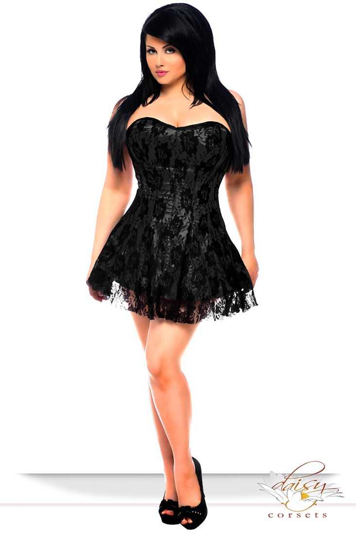 Lavish Black Lace Corset Dress Plus