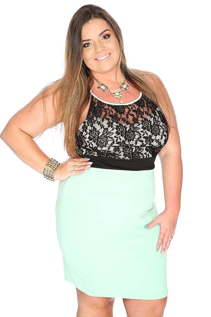 Sexy Cute Mint Black Lace Two Tone Plus Size Party Dress